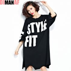 Plus Size Women T-Shirt European Brand Cotton Letter Printing O-Neck Female Fashion Tops&Tees Split New Dress Long Black T-Shirt