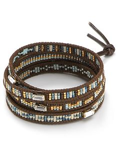 Chan Luu Five Wrap Leather Bracelet with Patterned Seed Beads | Bloomingdale's