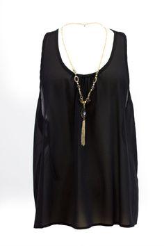 Plus Size Black Sleeveless Chiffon Tank Top With Neckalce