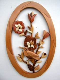 Intarsia Woodworking PATTERN FLOWERS by GielishWoodSculpture