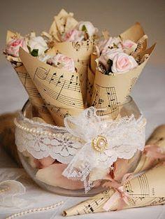 Vintage Twee: Vintage Music Sheet Rose Cones.  Centerpieces