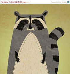 25 OFF SALE Woodland Creatures The Artful Raccoon by johnwgolden