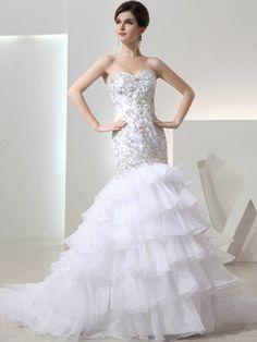 $291.79 Great Mermaid Organza Tube Top Rhinestone Wedding Dresses #Cheap #wedding #dresses #