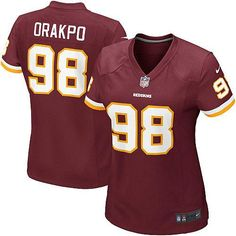 The officially licensed Nike NFL Elite Women's Washington Redskins #98 Brian Orakpo Team Color Jersey provides ultimate breathability so you can enjoy the superior comfort while rooting for your favorite player. This Nike NFL Elite Women's Washington Redskins #98 Brian Orakpo Team Color Jersey is constructed with water-repelling fabric to keep you dry and with a tailored fit to keep you comfortable.$109.99