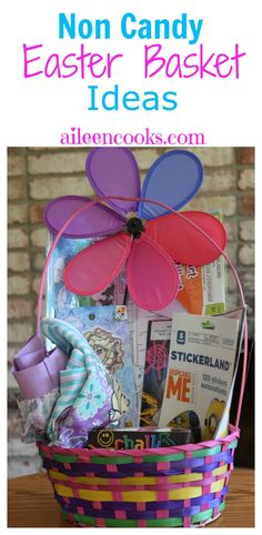 Non candy easter basket ideas for baby, preschooler, and toddler age groups. Most items were found at dollar tree and all baskets were under $20 total.  via @aileencooks