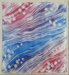 Red White and Blue - Habotai Hand Painted Silk Scarf (approx. 30x30 inches) by Laura Elderton