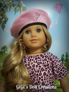 Pink Beret with Embrtoidered heart for by GiGisDollCreations