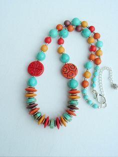 Boho Southwest Necklace Seventies Remake Turquoise by BohoStyleMe