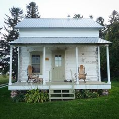 Sustainable Small House Design — sunshine-under-the-pines: Going back to a. Small Cottages, Cabins And Cottages, Cozy Cottage, Cottage Homes, White Cottage, White Cabin, Cottage Porch, Small House Design, Tiny House Living
