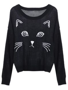 Black Embroidered Cat Round Neck Loose Sweater $28.65 SALE