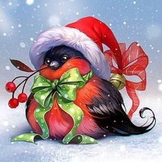 Diamond Painting - Christmas Fun Bird - Floating Styles - Diamond Embroidery - Paint With Diamond - free worldwide shipping. We also offer tools like lighting pad, diamond painting kits including quick painting pens. Create Your Own Paint With Diamonds n Christmas Bird, Christmas Scenes, Christmas Pictures, Vintage Christmas, Christmas Crafts, Christmas Decorations, Christmas Ornaments, Merry Christmas, Christmas Printables