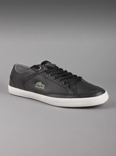 Lacoste® Men's Haneda CRE Leather Shoes in Black.  This  casual black leather sneaker is the perfect addition to your wardrobe.  Between the lace-up style and the comfortable cushioned insole, it's the  right choice in men's footwear. It pairs well with jeans, and offers  you a comfortable shoe for most of your daily activities.