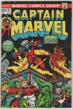Captain Marvel marvel bronze age comic book cover art by Jim Starlin Marvel Comics Superheroes, Marvel Comic Books, Comic Books Art, Dc Comics, Comic Art, Marvel Characters, Fictional Characters, Captain Marvel, Marvel Marvel