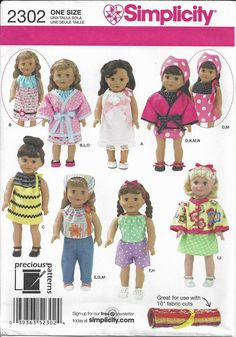 Simplicity 2302 OOP 18 inch Girl Dolls Clothes Pattern Dress Shoes Spa Kimono #Simplicity