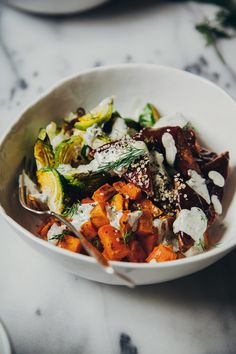 roasted winter bowl w/ BBQ tempeh + vegan hemp seed ranch dressing - The First Mess