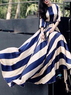 Blue Stripe 3/4 Sleeve Elastic Waist Silky Maxi Dress