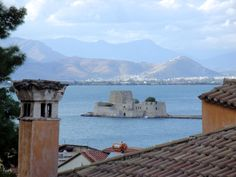 View of #Bourtzi from the old town of #Nafplio, right under the walls of #Akronafplia Castle. #Peloponnese, #Greece