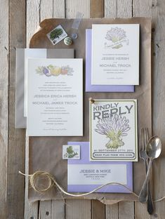 Invitations with lavender envelopes and fruit, vegetable, flower theme in vintage print.