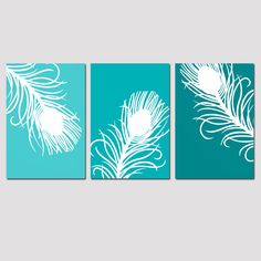 Modern Peacock Feather Trio - Set of Three 11x17 Prints - Modern Decor - Turquoise, Purple, Teal Blue, Terracotta Brown, and More. $79.50, via Etsy.