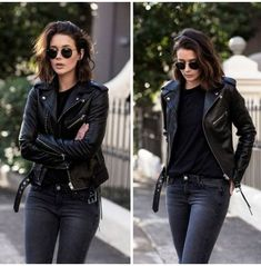 Street Style Outfits, Edgy Outfits, Mode Outfits, Fall Outfits, Fashion Outfits, Short Hair Outfits, Fashion Weeks, Outfits Leggins, Leather Jacket Outfits