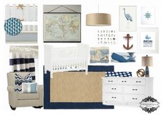 By the Sea {a nautical nursery}, navy, tan and white nursery