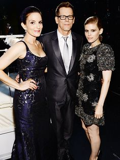 Bacon Sandwich Kevin Bacon was flanked by Tina Fey and Kate Mara inside NYC's Radio City Music Hall during the Tony Awards June 8.