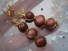 Ohrringe,Holz mit goldenen Elementen,wirework von kunstpause auf DaWanda.com