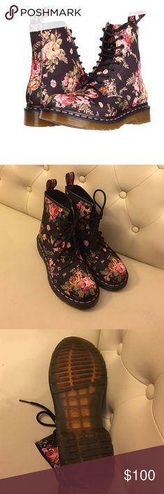"""Victorian Floral Dr. Martens Leather upper. Exception: Victorian Flowers colors are made of a finely woven canvas. Classic DMs """"Air Wair"""" heel loop. Textile lining with cushioned footbed for added comfort. Tripe-stitch detail. Trademark Dr. Martens® yellow stitching with grooved sidewalls. Woman's-specific comfort last and outsole provides exceptional fit, cushioning and flexibility. Signature Dr. Martens® welted construction. World Famous Air Cushioned sole Dr. Martens Shoes Lace Up Boots"""