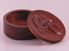 """Round Trinket Box with Hearts in Solid Mahogany. Your choice of 3.25"""" or 5"""" Diameter http://routercrafted.com"""