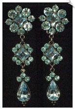Blue Rhinestone Clip Earrings Accented in Silvertones ( 2.5 in ) $28 @ www.whimzgirlclipearrings.com