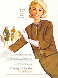 Pendleton Country Clothes Matemaster Suit (1962) Chiếc áo khoác không cổ này là một trong những trend năm 60. Cùng với găng tay, nó tạo thêm vẻ thanh lichj cho người mặc. Country Clothes Matemaster Suit (1962)
