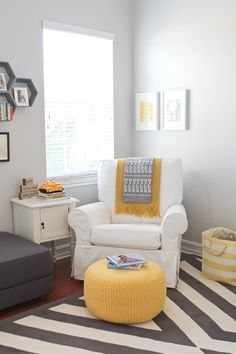 This modern gray and yellow nursery is everything we could ever want -- elegance and playfulness at once!  http://projectnursery.com/projects/baby-miles-nursery/#_a5y_p=2462218