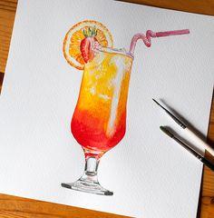 3 watercolor cocktails on Behance Pencil Art Drawings, Cool Art Drawings, Kawaii Drawings, Colorful Drawings, Watercolor Illustration, Watercolor Paintings, Watercolour, Food Art Painting, Copic Marker Art