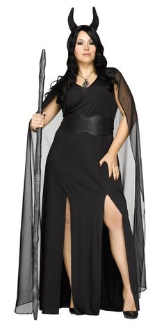 A beautiful slinky black dress that is both sexy and sinister at the same time! Black gown, matching waist cinch, cape and headband. Shoes and necklace not incl