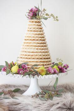 Danish wedding cake decorated with flowers