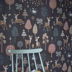 Bambi, Kids Wallpaper, Room Inspiration, Kids Room, Runes, Nursery, Holiday Decor, Grey, Wood