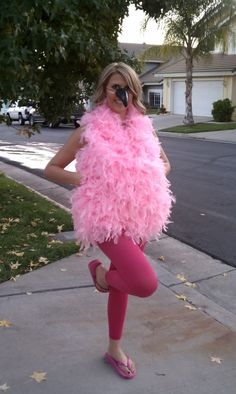 Kristen of Love, Lipstick and Pearls put together a super easy and absolutely adorable flamingo costume from Halloween a few years back.  She used a pink leotard, pink leggings, 10 pink feather boas and a toucan beak she spray painted black to create her flamingo look which turned out so cute!  This is such an creative take and something that can be done pretty quickly and easily.