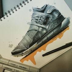 My favorite part of this design is how well the shoe is broken up into different sections. There is so much potential to play around with color and patterns here. Yeezy, Sneakers Sketch, Shoe Sketches, Industrial Design Sketch, Sports Footwear, Sneaker Art, Look Fashion, Fashion Design, How To Make Shoes