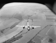 Gloster Meteor F Mark I of No. 616 Squadron RAF, based at Manston, Kent, in flight over the countryside between West Hougham and Dover.