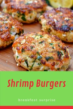 #Shrimp #Burgers    The satisfaction I get from eating a burger is usually dependant on just one thing, the toppings. If you put enough condiments, caramelized onions, sautéed mushrooms and avocado on a piece of cardboard, top it with a pickle and put it in a bun, I will happily eat it without a single complaint. To be perfectly frank, the patty is more or less irrelevant. Relish Recipes, Carrot Recipes, Bacon Recipes, Appetizer Recipes, Healthy Recipes, Escarole Recipes, Fennel Recipes, Chicken Potato Bake