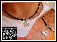 Men personalized black Leather SET jewelry Silver ZODIAC
