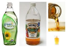 apple cider vinegar & a few drops of dish soap to get rid of fruit flies