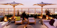 ROOFTOP TERRACE, love it., wanne re decorate my own rooftop now! Frank Barrett scours the boulevards of Los Angeles and the legendary stories of rock excess on a quest to check into the perfect Hotel California. Rooftop Decor, Rooftop Design, Rooftop Lounge, Rooftop Terrace, Outdoor Lounge, Terrace Hotel, Pergola Shade, Diy Pergola, Pergola Kits