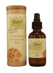 Facial Toner - Dry to Normal Skin by Grateful Body. $20.99. Skin Quenching Mist. 100% Natural and Synthetic Free. 4 FL OZ / 120 ML. Promotes Skin Natural Equilibrium. Hydrate and Firm. Genuine Benefits This facial Toner is specially designed for skin types that range between dry and normal.  Toner's are an important part of your healthy skin care ritual, helping to purify and hydrate your skin.  With regular use, our Toner works to plump the skin as cells drink up this...
