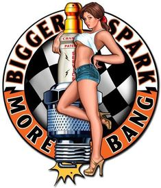 WELCOME to Home Decor Garage Art. Were very pleased to bring to market this quality American Made Product. PRODUCT SPECIFICS: From the Steve McDonald licensed collection, this Bigger Sparks Spark Plug Pinup Girl Vintaged Metal Sign. This Vintaged Metal Sign is hand made in the USA