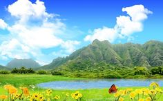2016 Scenery Wallpaper - Includes Green Mountains, Blue Sea and Yellow Flowers, Fit For All Users!,click to download