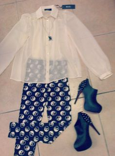 Look of the day... Beelee chiffon shirt - R450 Honeysong bambi necklace - R140 Cottage Clothing ying yang leggings - R150 Studded booties - R599