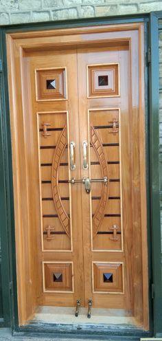 Wooden Front Door Design, Wooden Double Doors, Double Door Design, Wood Front Doors, Wooden Doors, Pooja Room Door Design, Bedroom Door Design, Door Gate Design, Door Design Interior