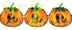 Three pumpkins in a row