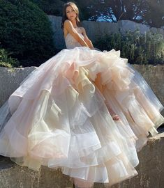 has us dreaming of cotton candy fairytales with this kind of lavish prettiness! Would you walk on the modern side with this upgrade on a Cinderella gown! Lazaro Wedding Dress, Lazaro Bridal, Stunning Wedding Dresses, Wedding Dress Styles, Bridal Dresses, Wedding Gowns, Cinderella Gowns, Bride Gowns, Mermaid Dresses